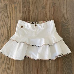Burberry Girls White Skirt with Plaid Trim. Size 6